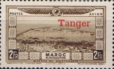"""[Airmail - Morocco Postage Stamps Overprinted """"TANGER"""" & Surcharged, type C7]"""