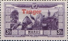 """[Airmail - Morocco Postage Stamps Overprinted """"TANGER"""" & Surcharged, type C8]"""
