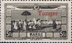 """[Airmail - Morocco Postage Stamps Overprinted """"TANGER"""" & Surcharged, type C9]"""