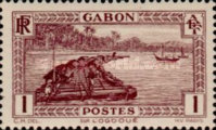 [Colonial Drawings - Timber Raft on the Ogowe River, type AE]