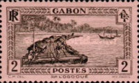 [Colonial Drawings - Timber Raft on the Ogowe River, type AE1]