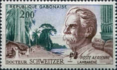 [Airmail - Dr. Albert Schweitzer (Philosopher and Missionary), Organ and View of Lambarene, type AK]