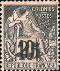 [French Colonies Postage Stamps Surcharged, type B3]