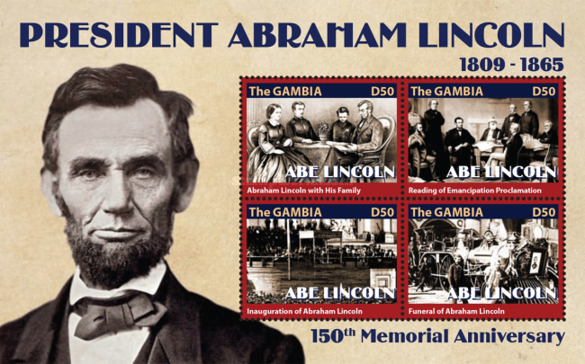 [The 150th Anniversary of the Death of Abraham Lincoln, 1809-1865, type ]