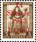 """[Albanian Postage Stamp Overprinted """"14 - Shtater - 1943"""", tyyppi A]"""
