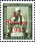 """[Albanian Postage Stamp Overprinted """"14 - Shtater - 1943"""", tyyppi A1]"""