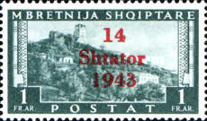 """[Albanian Postage Stamp Overprinted """"14 - Shtater - 1943"""", tyyppi A10]"""