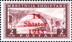 """[Albanian Postage Stamp Overprinted """"14 - Shtater - 1943"""", tyyppi A11]"""