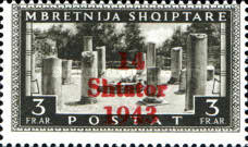 """[Albanian Postage Stamp Overprinted """"14 - Shtater - 1943"""", tyyppi A12]"""