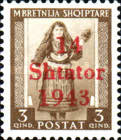 """[Albanian Postage Stamp Overprinted """"14 - Shtater - 1943"""", tyyppi A2]"""