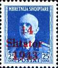 """[Albanian Postage Stamp Overprinted """"14 - Shtater - 1943"""", tyyppi A6]"""