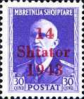 """[Albanian Postage Stamp Overprinted """"14 - Shtater - 1943"""", tyyppi A7]"""