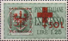 [Red Cross - Italian Postage Stamps Overprinted, type E]