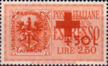 [Red Cross - Italian Postage Stamps Overprinted, type E1]