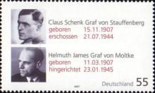 [The 100th Anniversary of the Birth of Count Claus Schenk von Stauffenberg & Count Helmuth James von Moltke, Typ CKN]