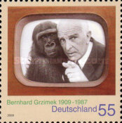 [The 100th Anniversary of the Birth of Bernhard Grzimek, 1909-1987, type CPA]