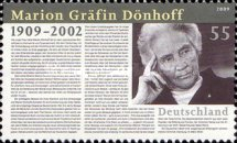 [The 100th Anniversary of the Birth of Marion Gräfin Dönhoff, 1909-2002, Typ CQG]