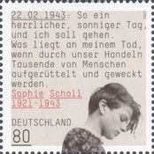 [The 100th Anniversary of the Birth of Sophie Scholl, 1921-1943, Typ DPH]