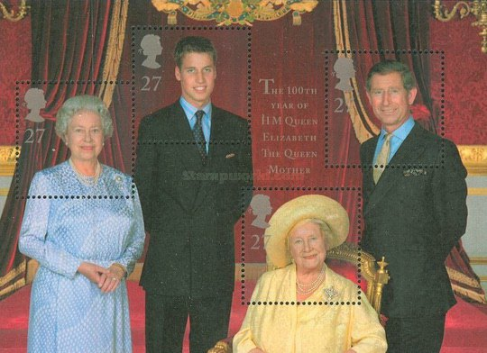 [The 100th Anniversary of the Birth of Queen Mother Elizabeth, Typ ]