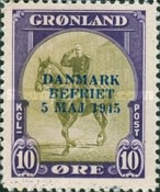 [Liberation of Denmark - No. 8-16 Overprinted