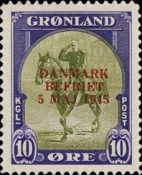 "[Liberation of Denmark - No. 20-25 Overprinted ""DANMARK - BEFRIET - 5 MAJ 1945"" in New Colour, type J2]"