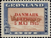 "[Liberation of Denmark - No. 20-25 Overprinted ""DANMARK - BEFRIET - 5 MAJ 1945"" in New Colour, type K1]"