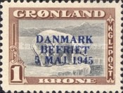 "[Liberation of Denmark - No. 20-25 Overprinted ""DANMARK - BEFRIET - 5 MAJ 1945"" in New Colour, type L1]"