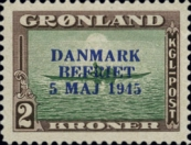 "[Liberation of Denmark - No. 20-25 Overprinted ""DANMARK - BEFRIET - 5 MAJ 1945"" in New Colour, type M1]"