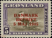 "[Liberation of Denmark - No. 20-25 Overprinted ""DANMARK - BEFRIET - 5 MAJ 1945"" in New Colour, type N1]"