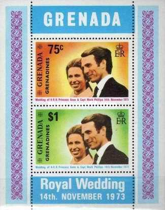 [Royal Wedding of Princess Anne and Mark Phillips - Issues of 1973 of Grenada Overprinted