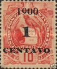 """[Issue of 1887/1895 Overprinted """"Un 1 Centavo 1899"""" and Surcharged, type AD]"""