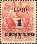 """[Issue of 1887/1895 Overprinted """"1900 1 CENTAVO"""" and Surcharged, type AE]"""