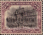 """[National Symbols - Issues of 1902 Overprinted """"1921 Doce y medio centavos"""" and Surcharged, type CF]"""