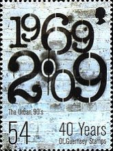 [The 40th Anniversary of the First Guernsey Postage Stamps, Typ AUP]