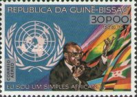 [Airmail - The 4th Anniversary of the Death of Amilcar Cabral, 1924-1973 - Previous Issue Surcharged, type BA1]
