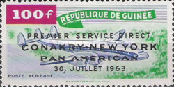 [Airmail - Opening of the Conakry-New York Route - Overprinted