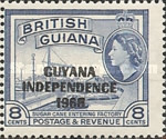 """[Independence - British Guiana Postage Stamps Overprinted """"GUYANA INDEPENDENCE 1966"""", Typ AI]"""