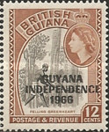 """[Independence - British Guiana Postage Stamps Overprinted """"GUYANA INDEPENDENCE 1966"""", Typ AJ]"""