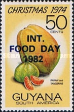 [International Food Day - Issue of 1974 Overprinted