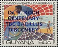 [The 100th Anniversary of Robert Koch's Discovery of Tubercle Bacillus - Issue of  1980 Overprinted