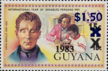 [The 175th Anniversary of the Birth of Louis Braille - Issue of 1983 Surcharged