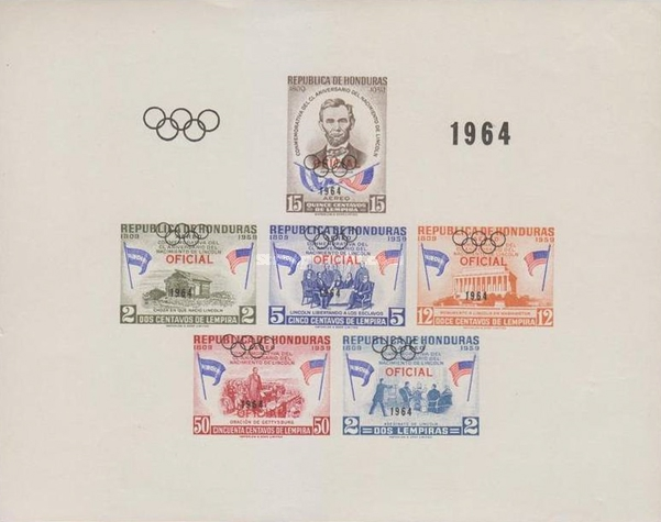 [Airmail - Olympic Games - Tokyo, Japan - Official Stamps of 1959 Overprinted