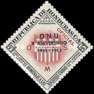[Airmail - United Nations - Honduras Postage Stamps of 1953 in New Colors and  Overprinted