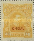[President Luis Bográn - Honduras Postage Stamps of 1891 in New Color and Overprinted
