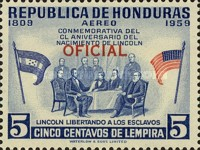 [Airmail - The 150th Anniversary of the Birth of Abraham Lincoln - Honduras Postage Stamps of 1959 Overprinted