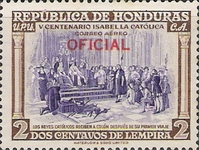 [Airmail - The 500th Anniversary of the Birth of Queen Isabella I of Spain - Honduras Postage Stamps of 1952 Overprinted