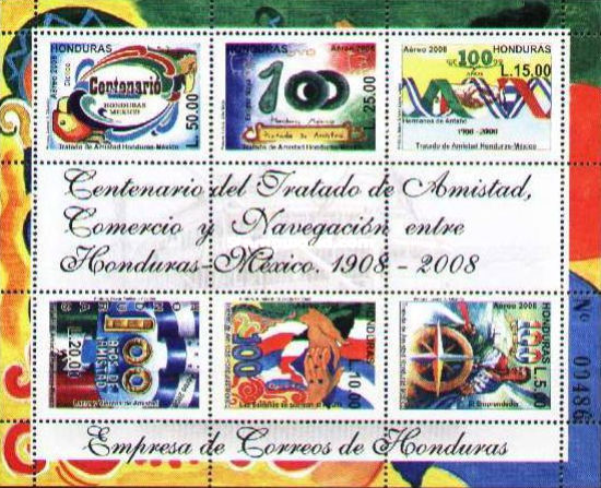 [Airmail - The 100th Anniversary of Treaty of Amicity, Commerce and Navigation between Honduras and Mexico, type ]