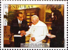 [Airmail - The 1st Anniversary of Inauguration of President Carlos Roberto Flores, type ACS]