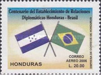 [Airmail - The 100th Anniversary of Diplomatic Relationships Between Honduras and Brazil, Typ AQL]