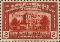 """[Airmail - Earlier Stamps Overprinted """"Correo Aereo HABILITADO Acd No 798-1945 L 0.01"""" and Surcharged, type BM1]"""
